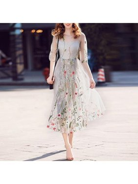aa988f884e8 Product Image JIMSHOP Lady Bohemian Flower Embroidered Long Mesh Dress  Evening Party Floral Dresses