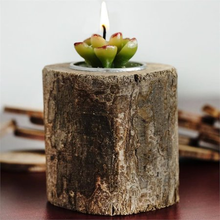 BalsaCircle Natural Wooden Tea Light Holder - Rustic Wedding Party Centerpieces Home Decorations Spa Supplies