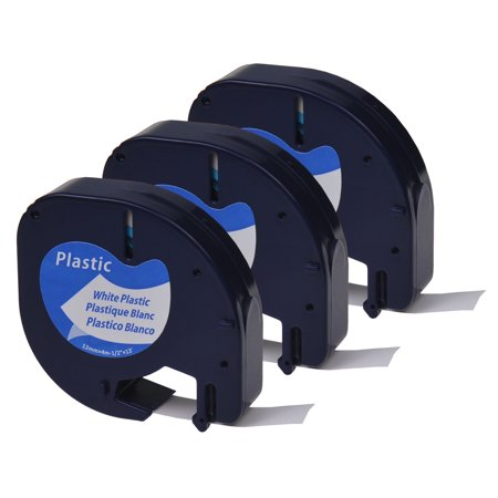 GREENCYCLE 3PK 12mm 4m Black on White Plastic Label Tape for Dymo 91331 91201 91221 59422 S0721660 LetraTag Printer Disc Title Label Printer