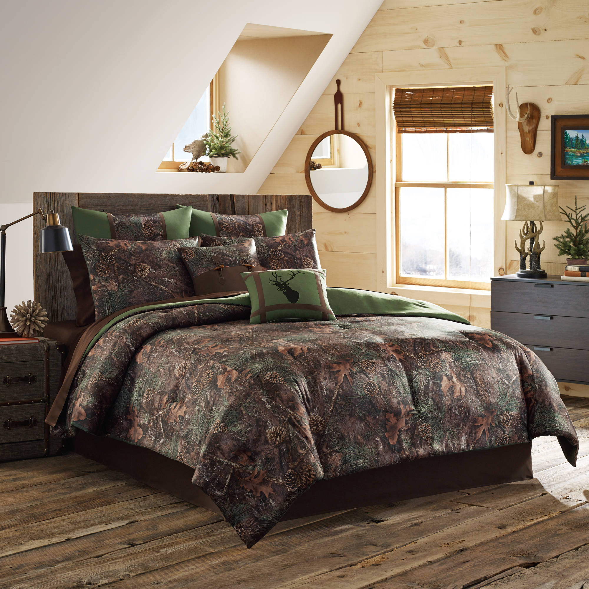 Finest True Timber Mixed Pine Bedding Comforter Set, Green - Walmart.com ML58