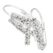 Detti Originals Crystal Silver Tone Initial Earrings I