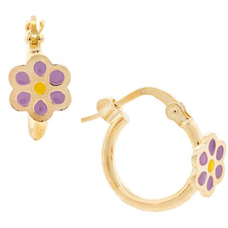 Purple Flower Earrings (18kt Gold-Plated Sterling Silver Purple Flower Enamel Kids' Hoop Earrings )