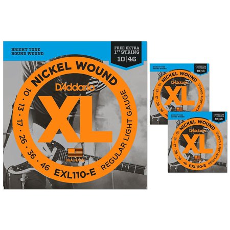 d 39 addario exl110 e light electric guitar strings 3 pack with 3 bonus high e strings 10 46. Black Bedroom Furniture Sets. Home Design Ideas