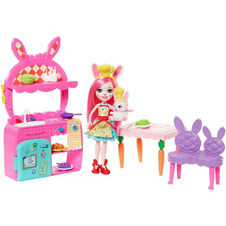 Enchantimals Kitchen Fun Playset + Bree Bunny Doll & Twist Figure