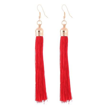 Lady Fish Hook Tassel Pendant Dangling Earrings Eardrop Red 4.3 Inch Long Pair (Bronze Leverback Earring Hooks)