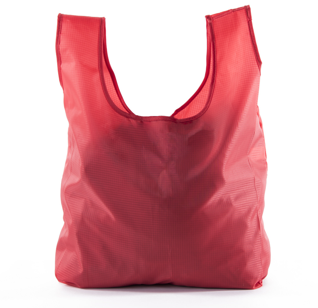 Reusable Grocery Bags | Foldable w/ Integrated String Pouch | Ripstop Nylon Tote - 15PK Red CA2650
