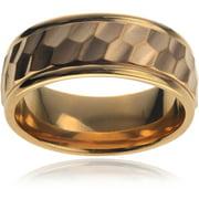 Men's Titanium Hexagon Design with Brushed Center Fashion Ring, 8mm