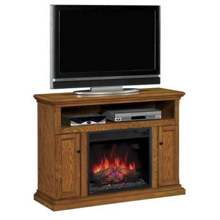 Cannes TV Stand with 23″ Infrared Quartz Fireplace, Antique Oak