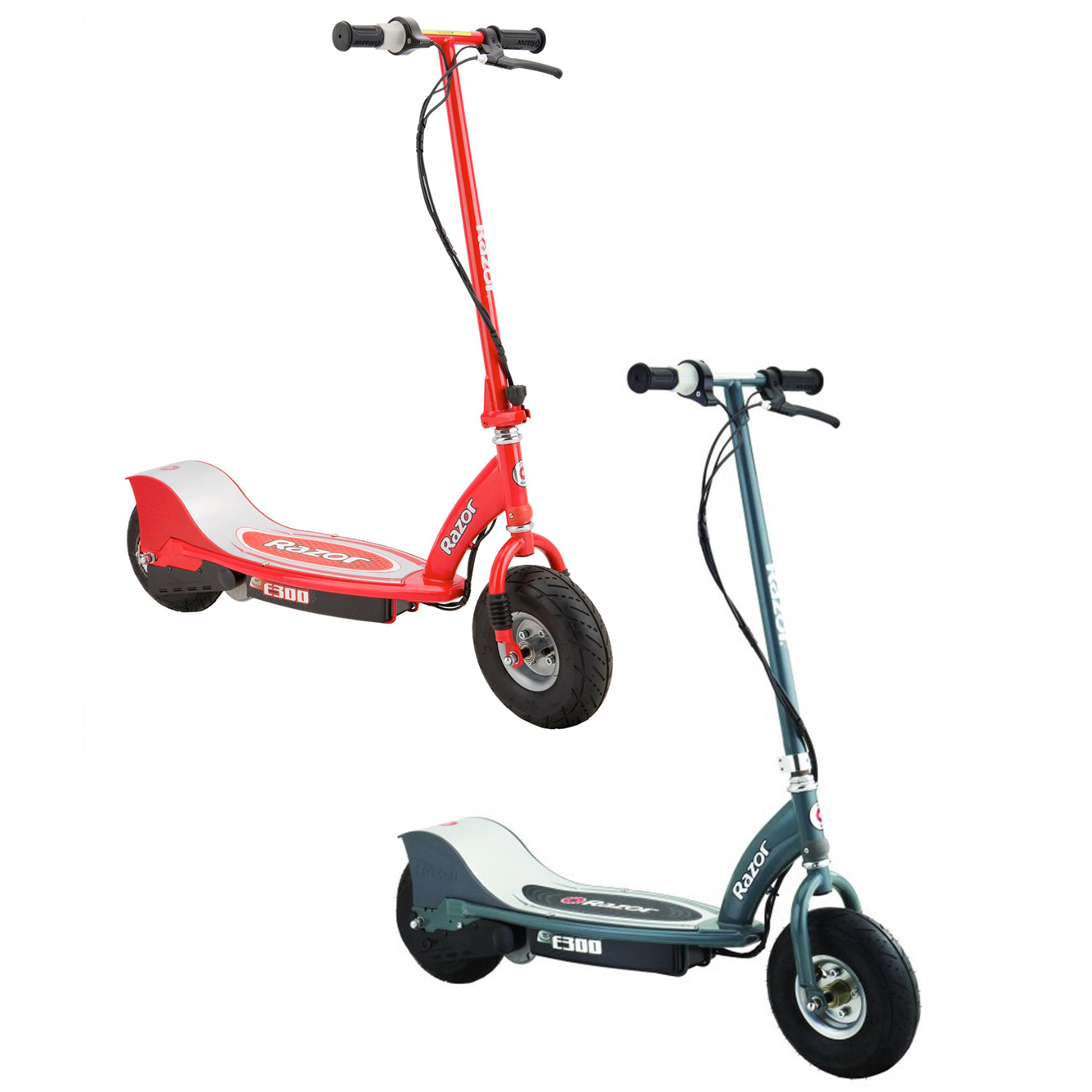 Razor E300 Rechargeable Electric Motorized Ride On Kids Scooters, 1 Red & 1 Gray