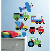 Wallies Wallcoverings 13361 Peel & Stick Wall Art OK Trains  Planes & Trucks