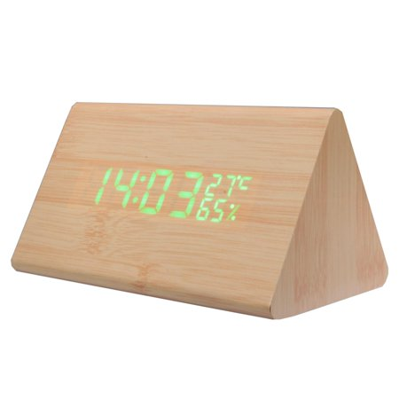 Wooden Alarm Clock, LED Wooden Alarm Desk Clock With Temperature Time Date Display Sound Control Desk Alarm Clock, Triangle Wooden Clock