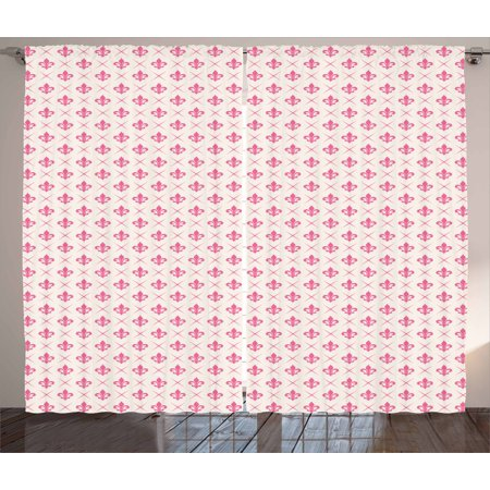 Fleur De Lis Curtains 2 Panels Set, Pink Colored Ancient Lily Flower Motifs with Checkered Pattern French Heraldry, Window Drapes for Living Room Bedroom, 108W X 96L Inches, Pink Cream, by Ambesonne