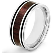 Stainless Steel Wood Inlay Ring