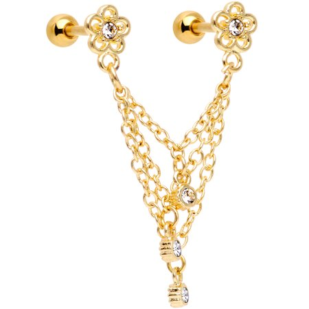 "Body Candy 16G Gold PVD Steel 1/4"" Clear Accent Flower Cartilage Chain Earring Double Piercing for Women 6mm"