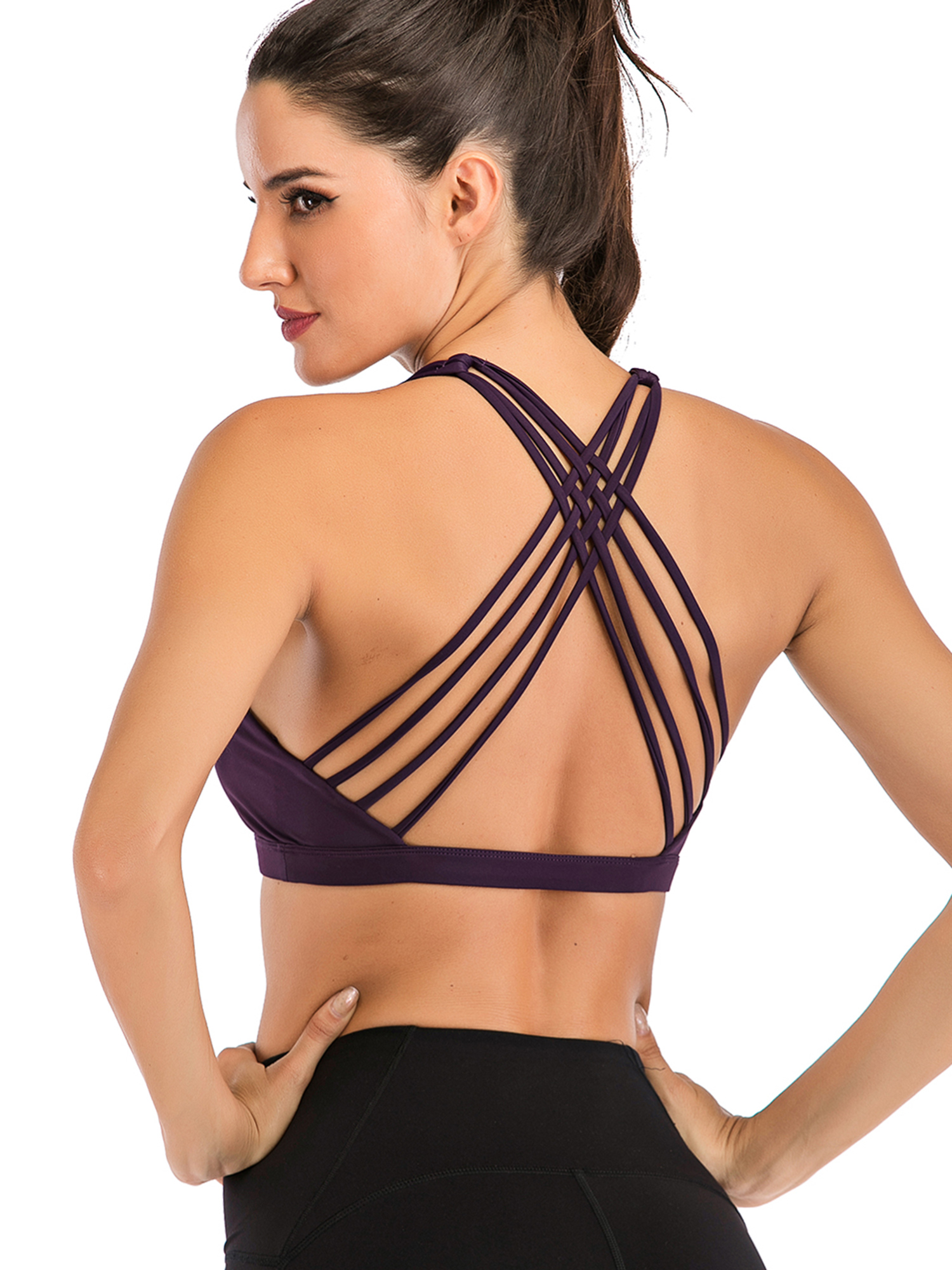 Sport Bra Women Front Criss-Cross T-Back Strappy Wireless Racerback Running Yoga