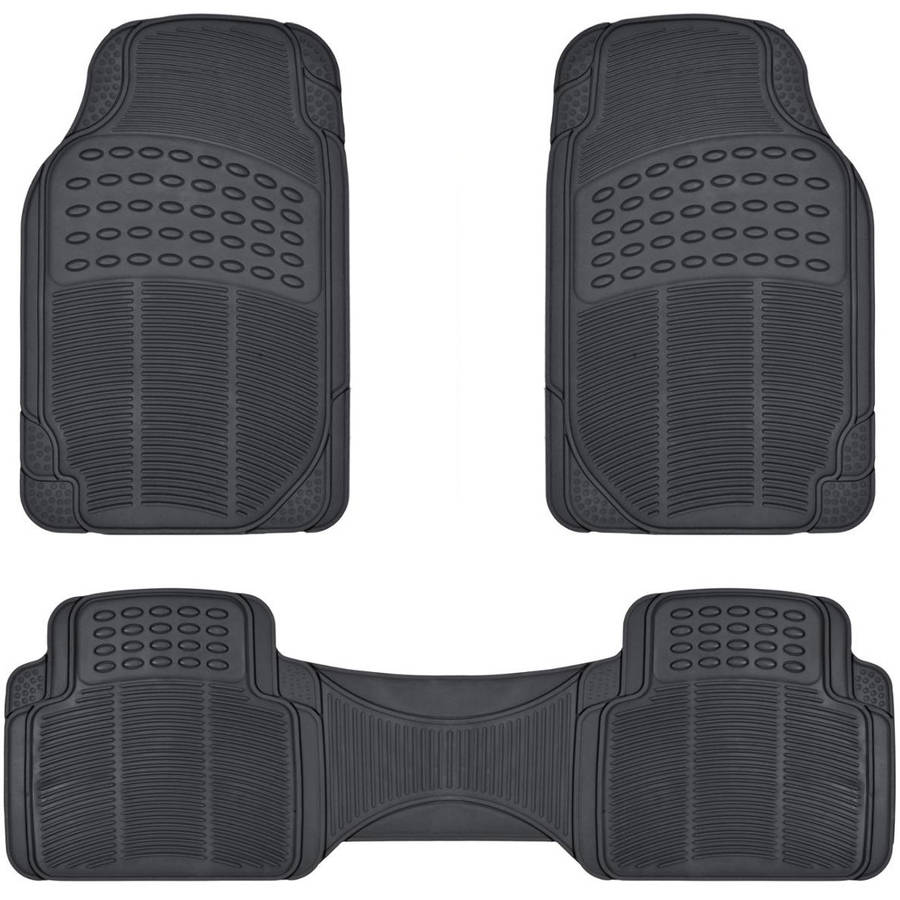 BDK All Weather Solid Rubber Trimmable Front and Rear 3-Piece Universal Car Van Truck Floor Mats Set