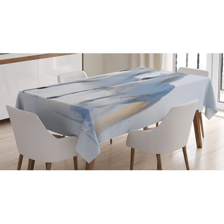 Winter Decorations Tablecloth, Galloping Noble Horses on Snow Field Purity Symbol Animals Equestrian Theme, Rectangular Table Cover for Dining Room Kitchen, 52 X 70 Inches, White, by Ambesonne (Horse Decorations)