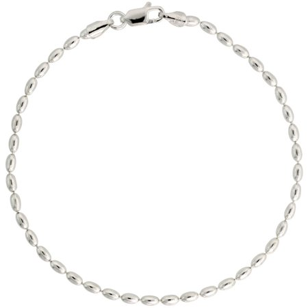 - Sterling Silver Oval Pallini Bead Ball Chain Necklaces & Bracelets 2.5mm Nickel Free Italy, 7-30 inch