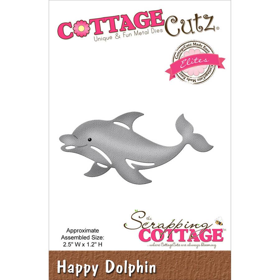 "CottageCutz Elites Die, Happy Dolphin, 2.5"" x 1.2"""