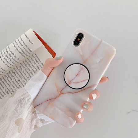 Glossy Crack Marble Phone Case With Fold Holder Cases For iPhone 7 X 6 6S 8 Plus Cover for iPhone XS MAX XR 8Plus 7Plus shell(Grey