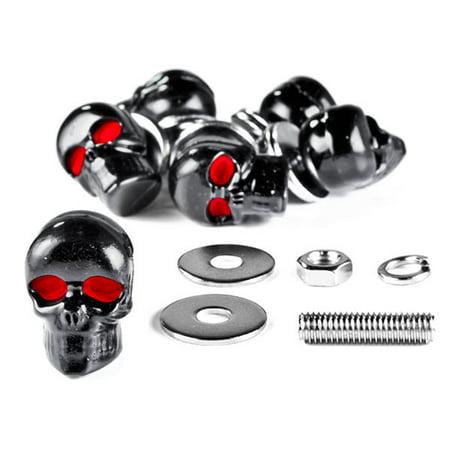Krator® Custom Black Skeleton Skull Bolt Nuts Screws 6