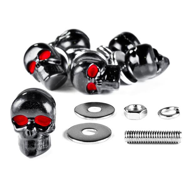 Krator Custom Black Skeleton Skull Bolt Nuts Screws 6mm For Harley Davidson Softail Springer Heritage Classic