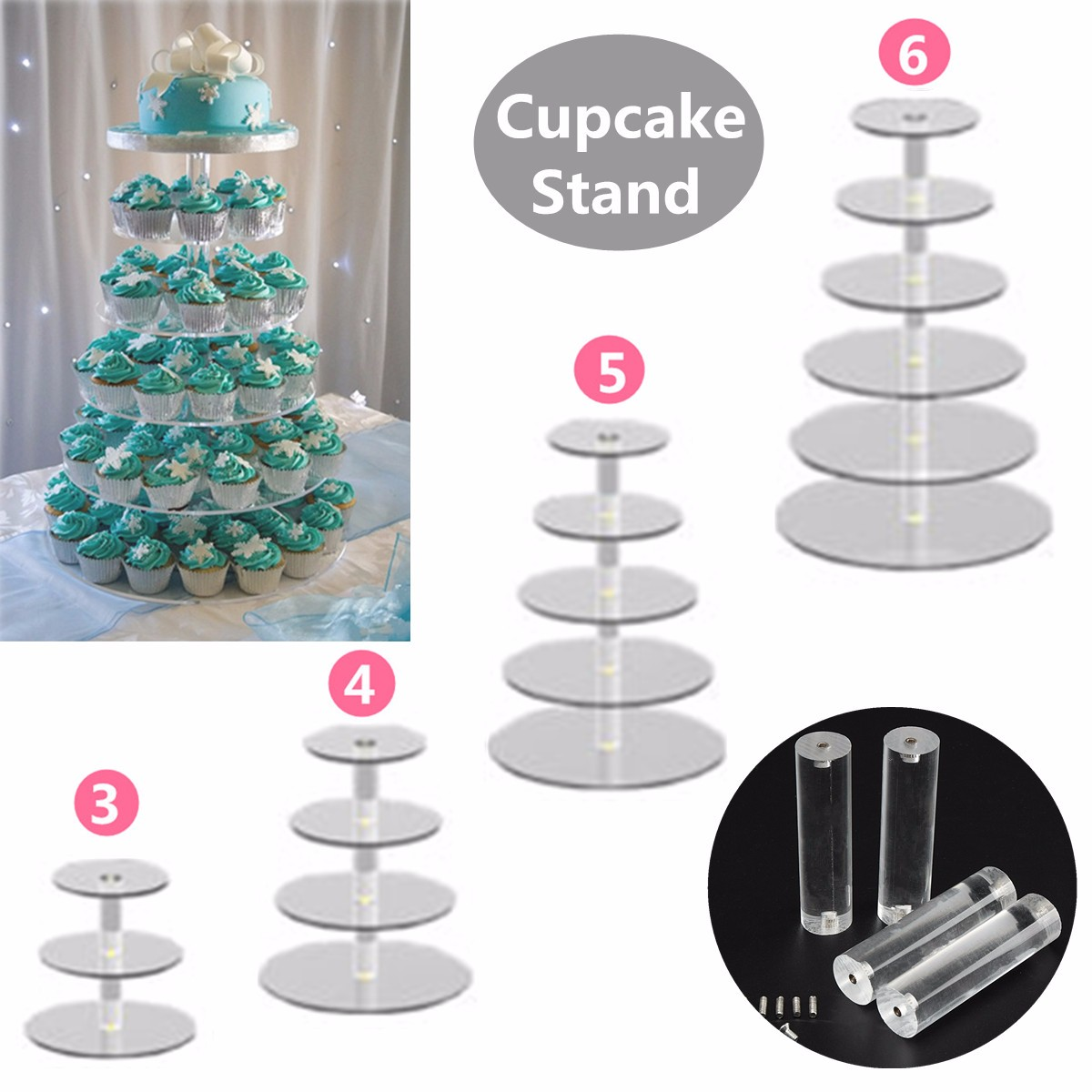 3/4/5/6 Tier Clear Acrylic Cake Stand Round Crystal Cupcake Tower Stand Wedding Birthday Party Decoration