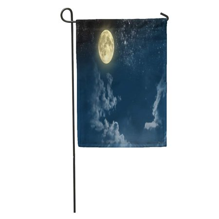 POGLIP Moon Beautiful Magic Blue Night Sky Clouds and Fullmoon Stars Full Fantastic Garden Flag Decorative Flag House Banner 12x18 inch - image 2 of 2