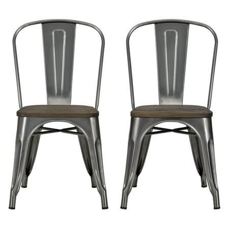 DHP Fusion Metal Dining Chair with Wood Seat, Set of two, Antique Gunmetal ()