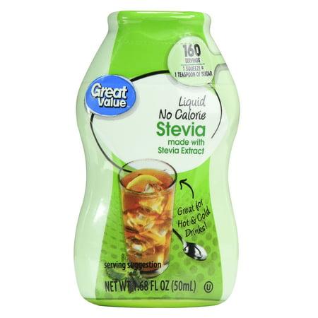 (2 Pack) Great Value Liquid No Calorie Stevia Sweetener, 1.68 fl