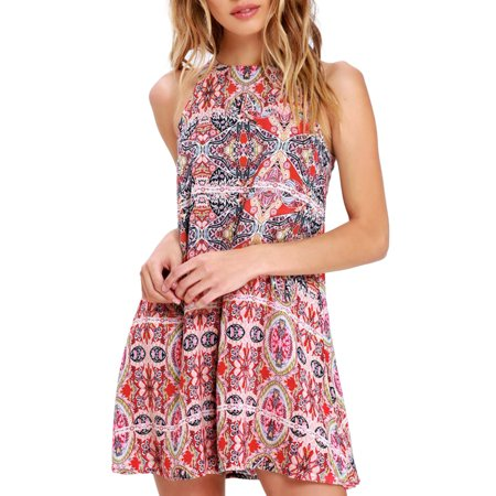 Mosunx Womens Summer Boho Mini Maxi Dress Ladies Halter Casual Beach Party Shirt Dress](Halter Top Dresses)