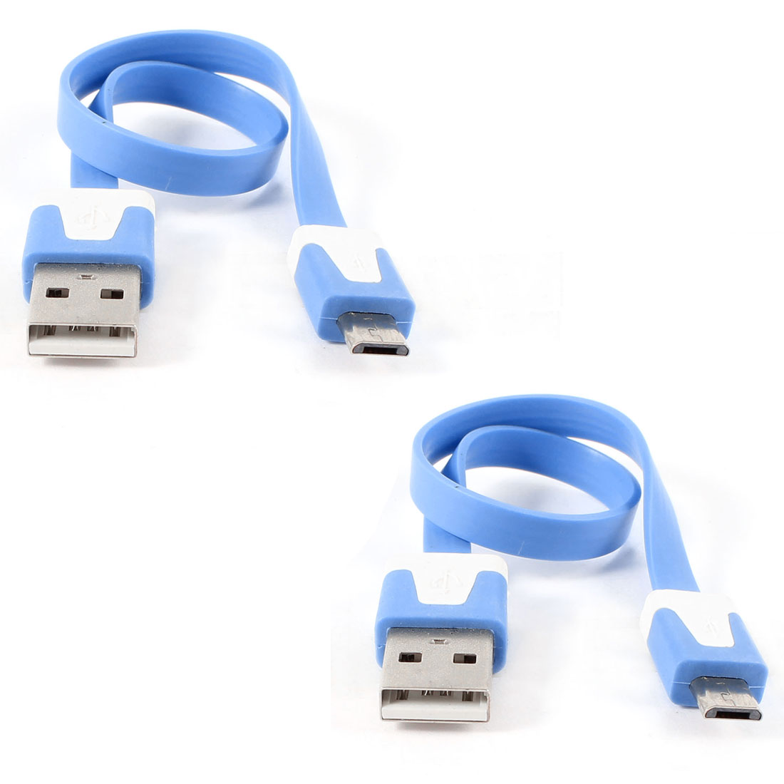 Unique Bargains 2pcs Blue USB2.0 A to Micro B 5Pin M/M Data Charger Flat Cable 23cm for HTC