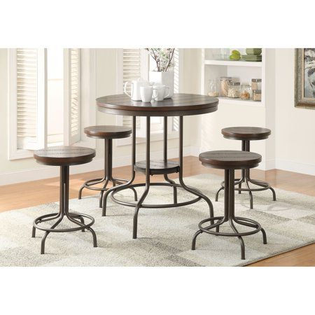 Burney 5-Piece Counter-Height Dining Set, Cherry Oak and Bronze ()