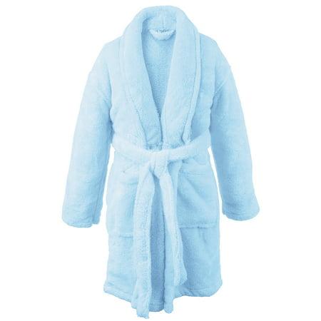 BC BARE COTTON Kids Microfiber Fleece Shawl Robe - Boys - Turquoise - Medium