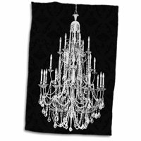 3dRose Chic Vintage Black and White Chandelier - Towel, 15 by 22-inch