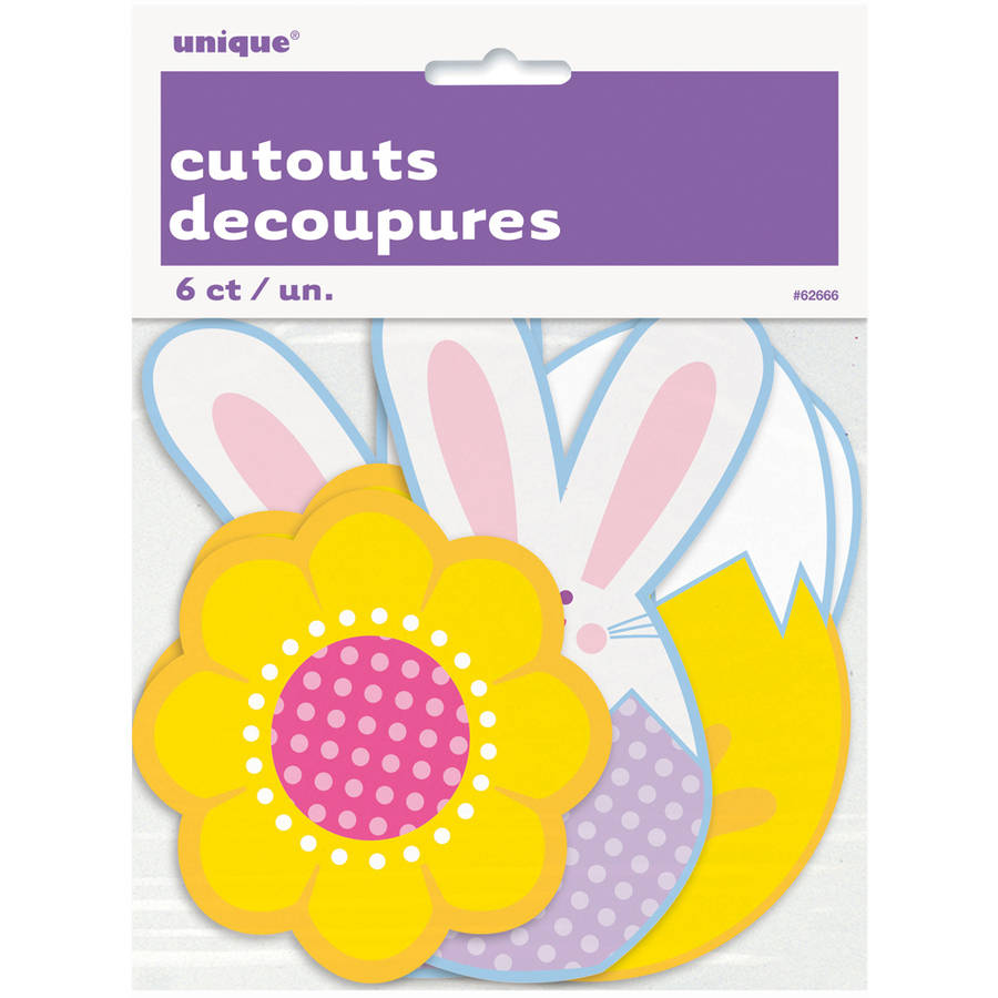 Paper Cutout Bunny and Chick Easter Decorations, 6ct