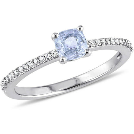 Tangelo 1/2 Carat T.G.W. Light Blue Sapphire and 1/10 Carat T.W. Diamond 14kt White Gold Engagement Ring