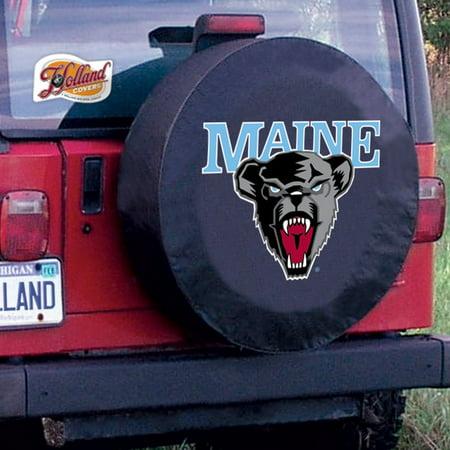 964 Bear - Maine Tire Cover with Black Bears Logo on Black Vinyl Size: Z - 33 x 12.5 Inch