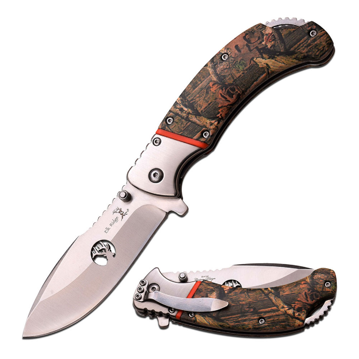 "Elk Ridge 4.25"" Closed Camo Coated Folding Knife"
