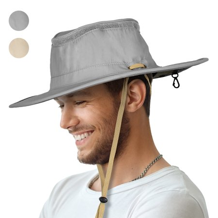 Sun Blocker Outdoor Boonie Sun Protection Hat Mesh Bucket Hat Wide Brim Camping Hiking Fishing Hunting Boating Safari Cap with Adjustable (Leather Bucket Hat)