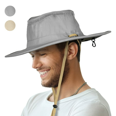 Sun Blocker Outdoor Boonie Sun Protection Hat Mesh Bucket Hat Wide Brim Camping Hiking Fishing Hunting Boating Safari Cap with Adjustable Drawstring ()