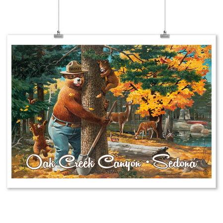 Sedona, Arizona - Smokey Bear Hugging Tree - Oak Creek Canyon - Lantern Press Artwork (9x12 Art Print, Wall Decor Travel Poster)