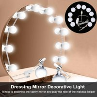 HURRISE Hollywood Style LED Vanity Mirror Lights 10 LED Bulbs Kit Warm/Cold Tones Lighting Fixture Strip for Makeup Vanity Table Set in Dressing Room or Bathroom