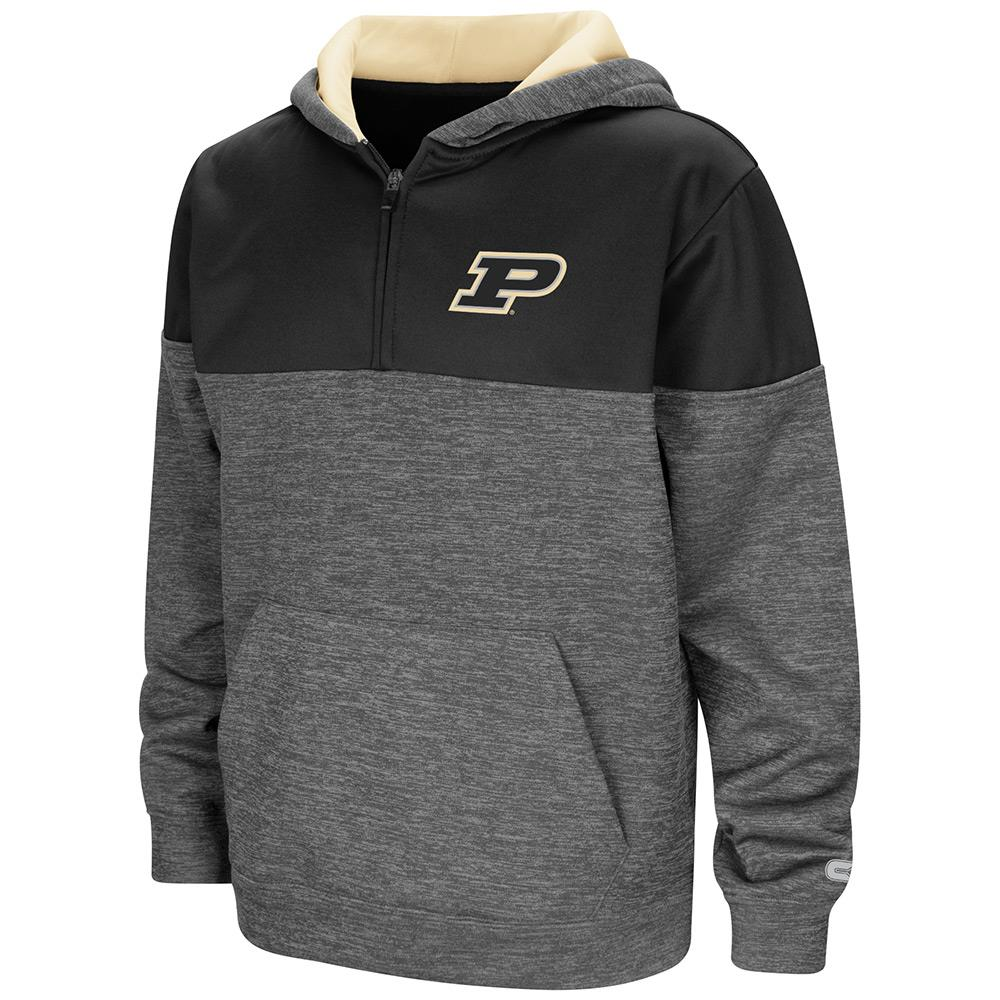 Youth Purdue Boilermakers Quarter Zip Pull-over Hoodie - S