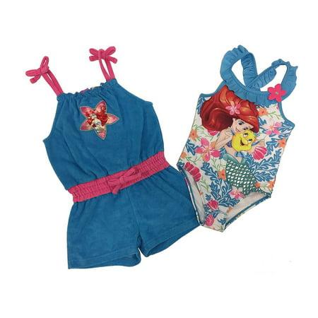 bd1a8980ea Dreamwave - Disney The Little Mermaid Ariel Little Girls Swimsuit and Cover  Up Set - Walmart.com