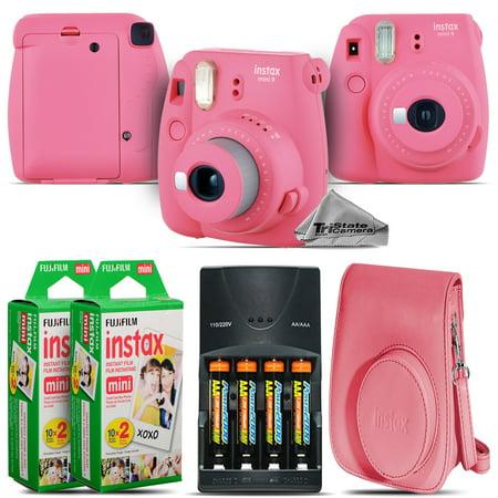 Fujifilm instax mini 9 Camera (Pink) + 4 Batteries + Pink Case - 40 Films Kit