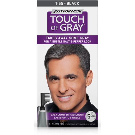 Just For Men Touch of Gray, Easy Men's Hair Color with Comb-In Applicator, Black, Shade