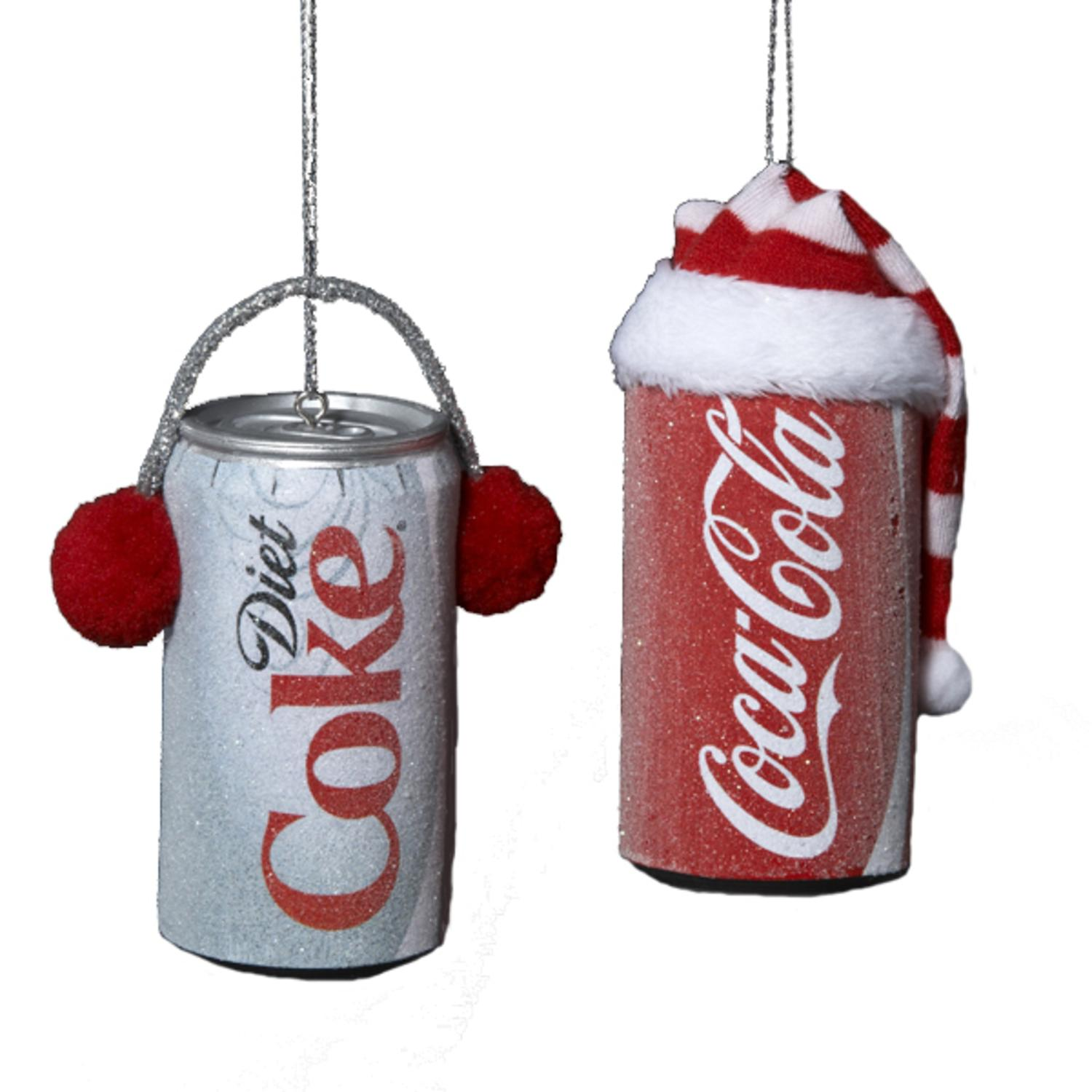 """Club Pack of 24 Frosted Coca-Cola and Diet Coke Can Christmas Ornaments 3.5"""""""