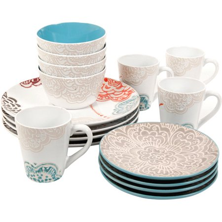 gibson home aria floral 16 piece dinnerware set gray