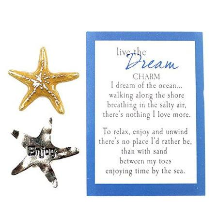 Live The Dream Nautical Pocket Charm With Story Card, Starfish/ (Nautical Starfish Charms)